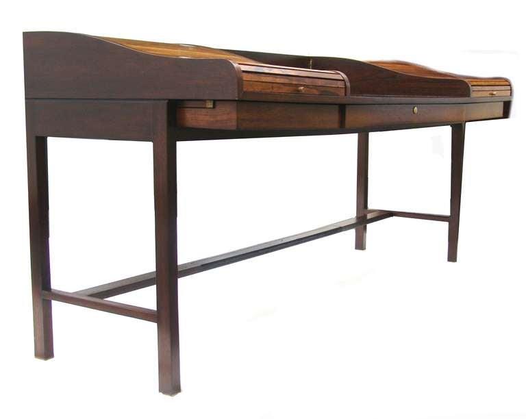 edward wormley for dunbar mid century modern rosewood roll top desk at 1stdibs. Black Bedroom Furniture Sets. Home Design Ideas