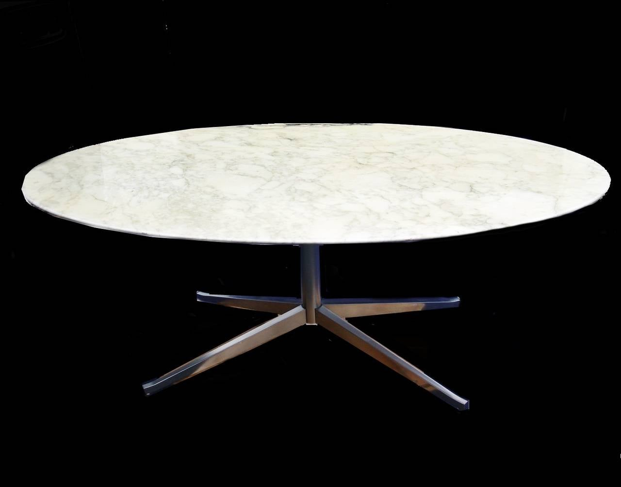 florence knoll marble top oval dining table desk at 1stdibs. Black Bedroom Furniture Sets. Home Design Ideas
