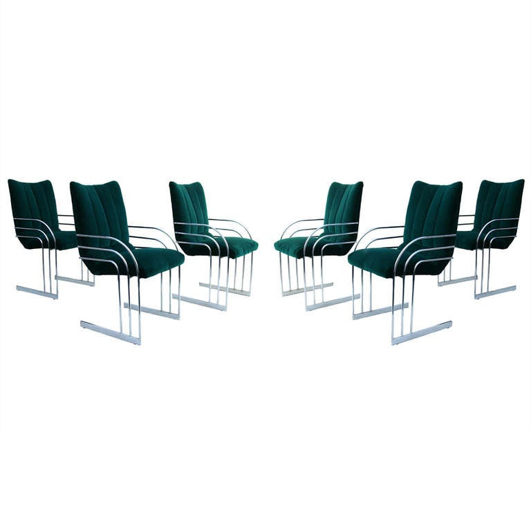 Mid Cenutry Modern Set Of 6 Chrome Arm Dining Chairs At