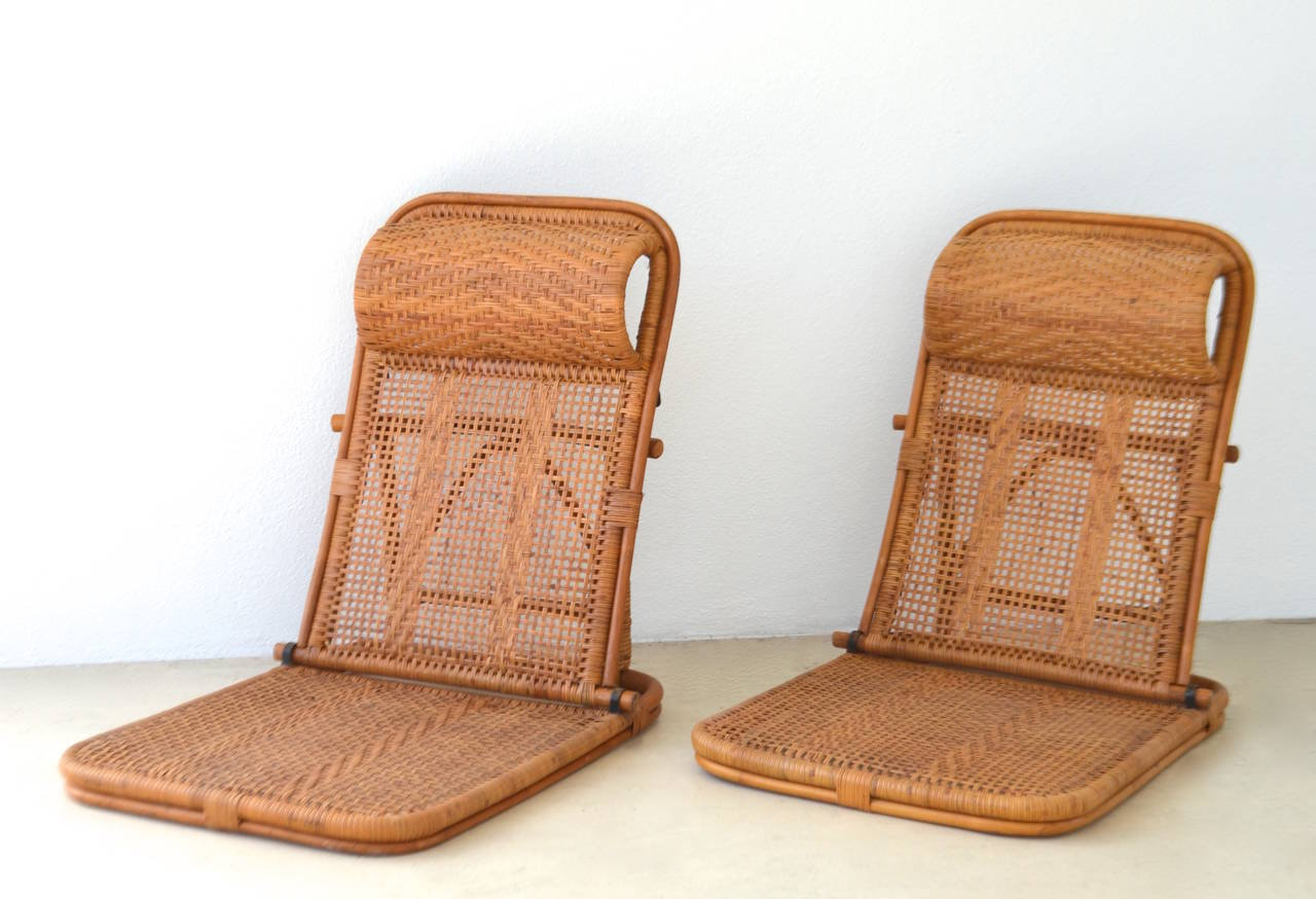 Sensational Pair Of Mid Century Woven Rattan And Bamboo Beach Chairs, C.  1950s.