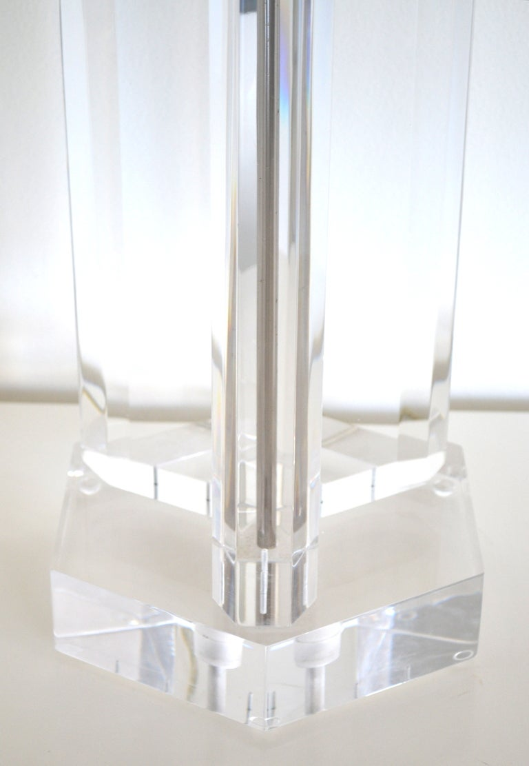 Stunning Geometric Form Lucite Lamp At 1stdibs