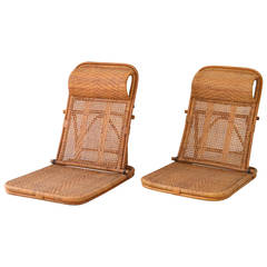 Mid Century Rattan and Bamboo Beach Chairs