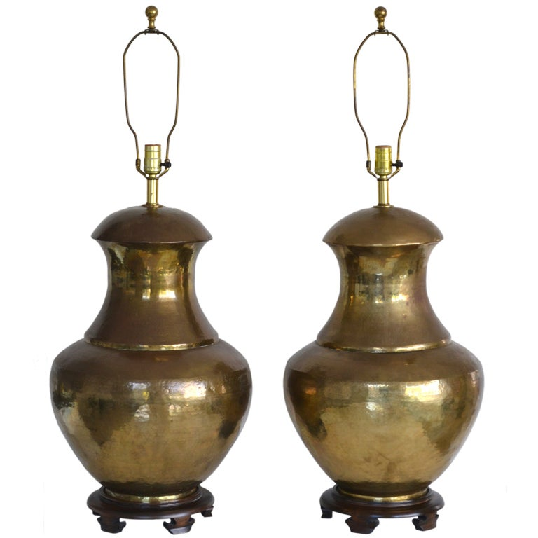 pair of hammered brass table lamps at 1stdibs. Black Bedroom Furniture Sets. Home Design Ideas