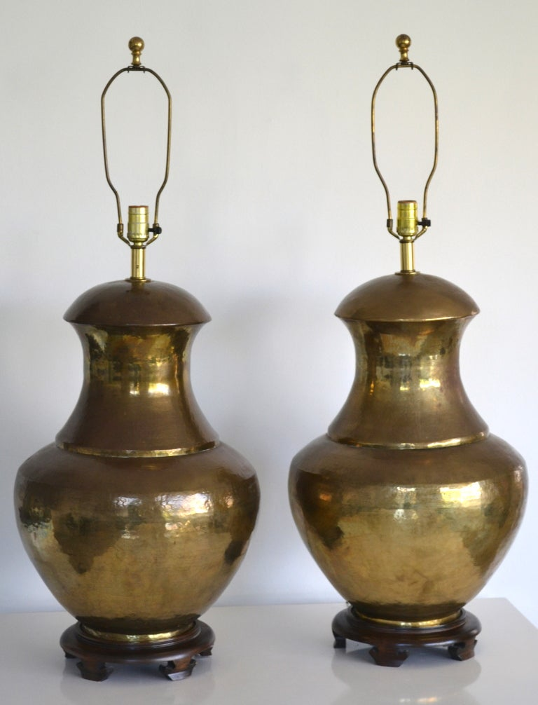 Pair of Hammered Brass Table Lamps at 1stdibs