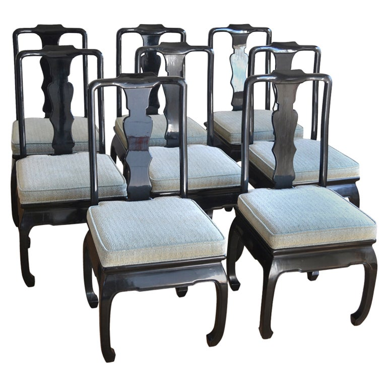 Set of 8 Hollywood Regency Style Ebonized  Dining Chairs For Sale