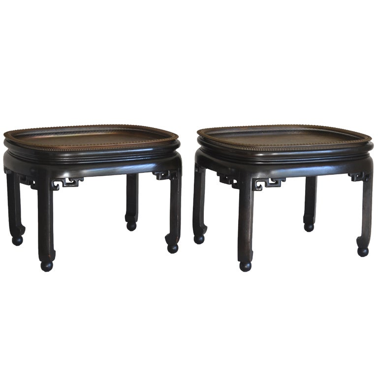 Pair Of Ebonized Wood And Brass Tray Coffee Tables At 1stdibs