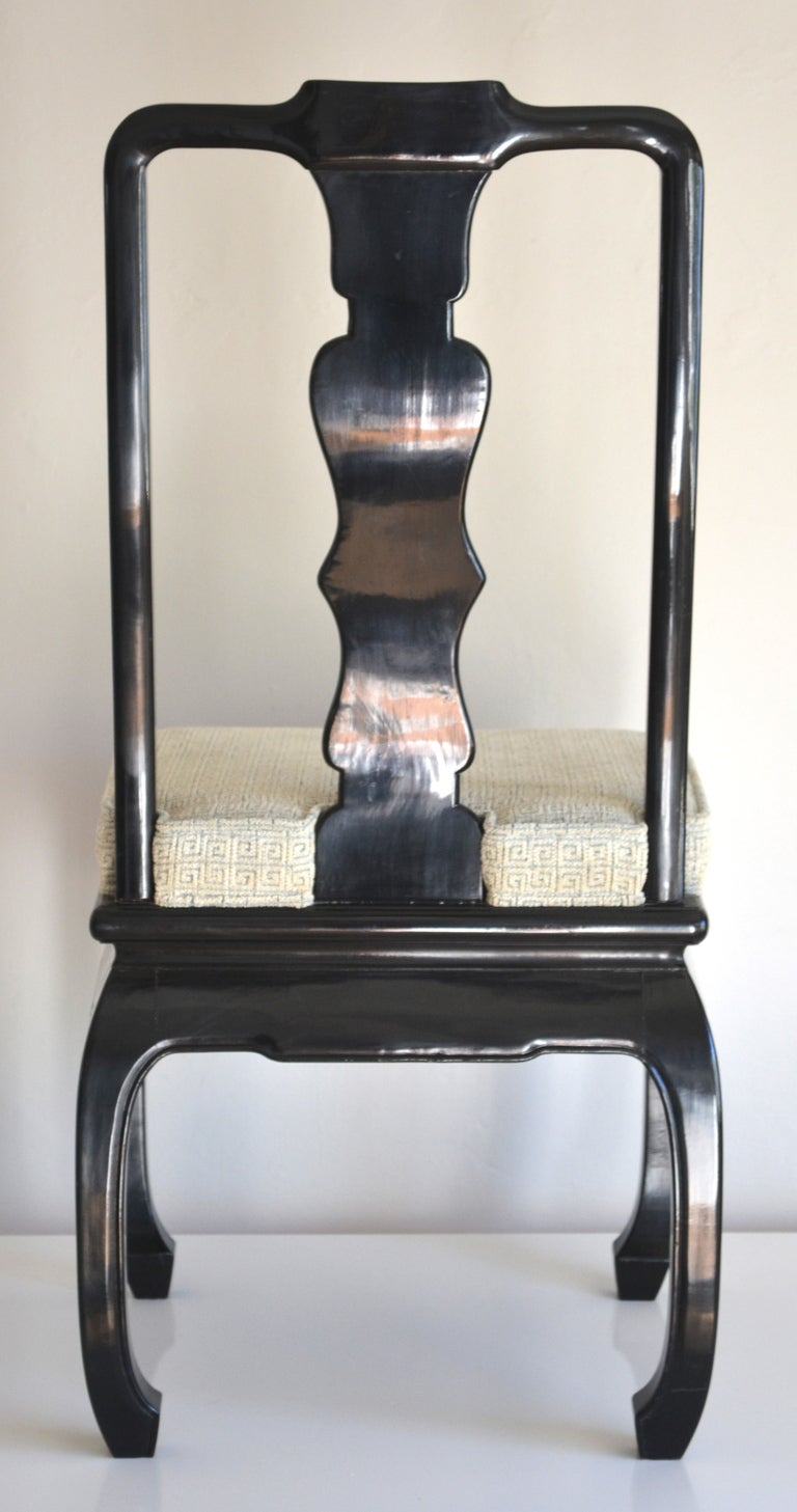Set of 8 Hollywood Regency Style Ebonized  Dining Chairs In Excellent Condition For Sale In West Palm Beach, FL