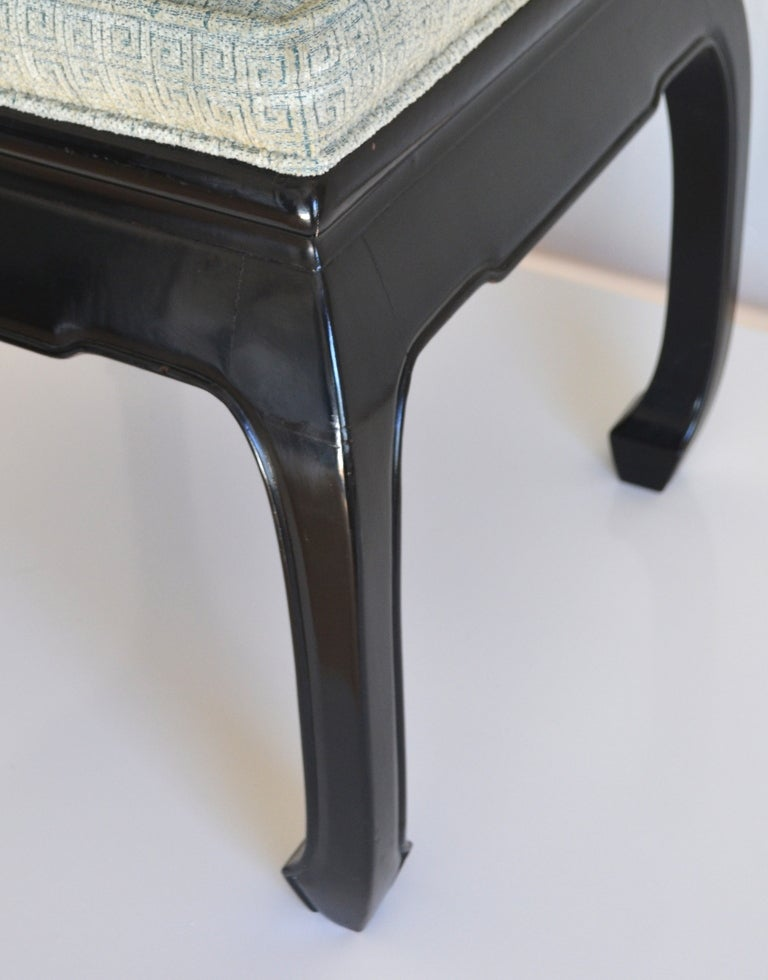 Cotton Set of 8 Hollywood Regency Style Ebonized  Dining Chairs For Sale