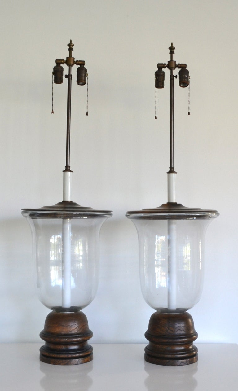 Pair Of Blown Glass Bell Jar Table Lamps On Hand Turned