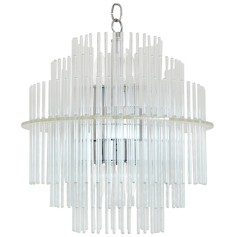 Mid Century Glass Rod Chandelier By Lightolier At 1stdibs