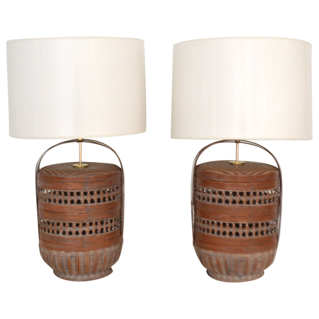 Woven Basket Lamp : Pair of woven reed basket lamps at stdibs