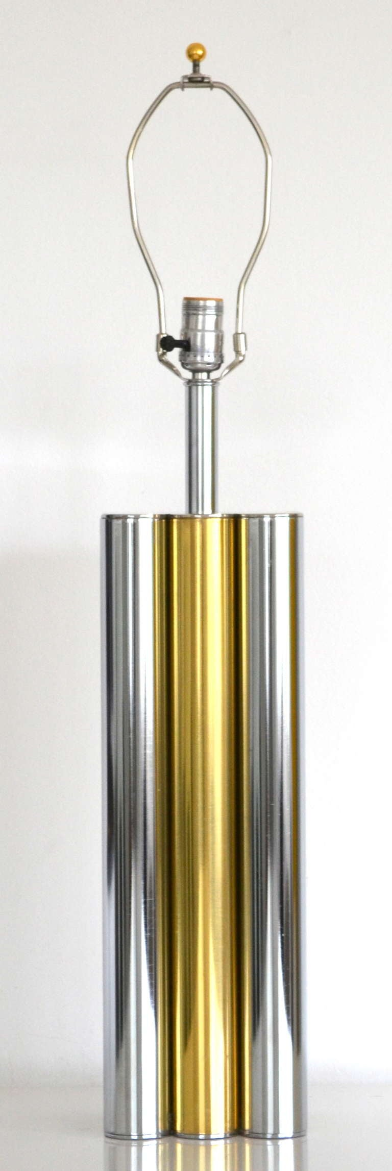Mid-Century Modern Chrome and Brass Table Lamp at 1stdibs