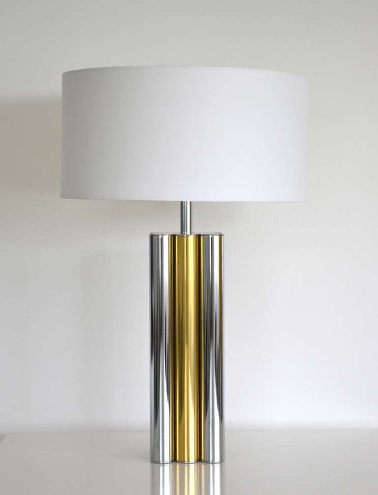 mid century modern chrome and brass table lamp at 1stdibs. Black Bedroom Furniture Sets. Home Design Ideas