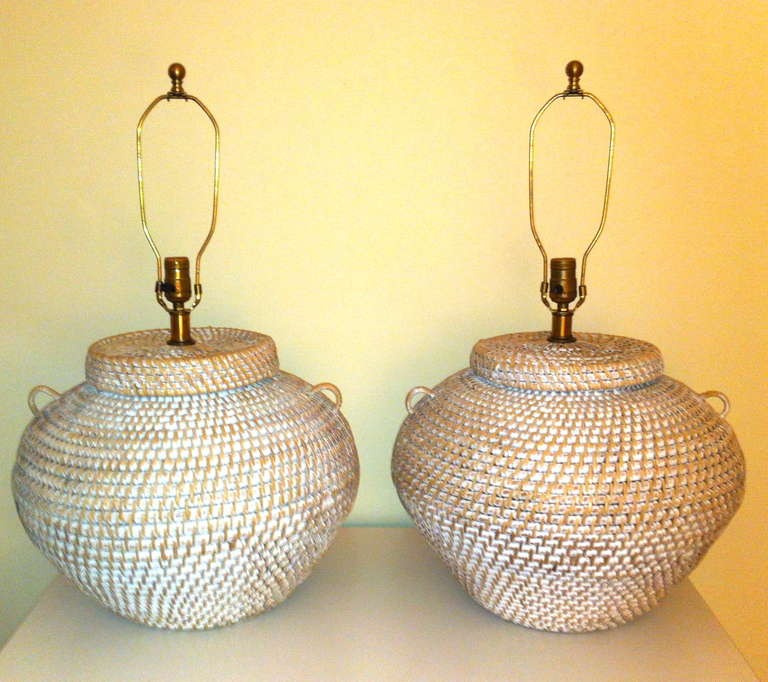 Woven Basket Lamp : Pair of mid century modern urn form woven basket table