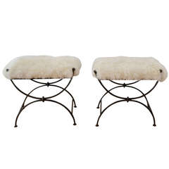 Pair of Hand-Wrought Ironwork Benches with Mongolian Lamb Cushions