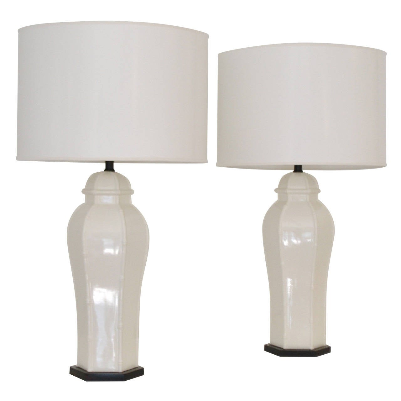 Pair of blanc de chine jar form table lamps for sale at for Table de chine