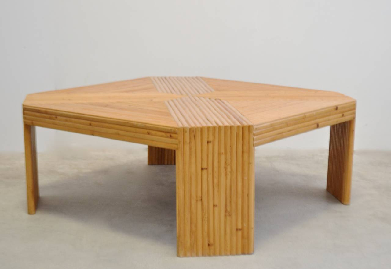 Split bamboo coffee table at stdibs