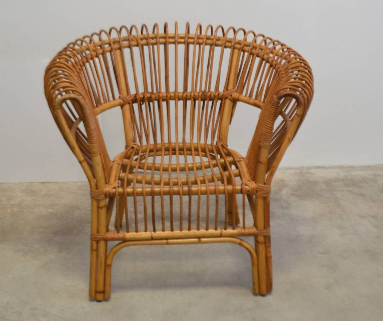 Italian Rattan Lounge Chair at 1stdibs