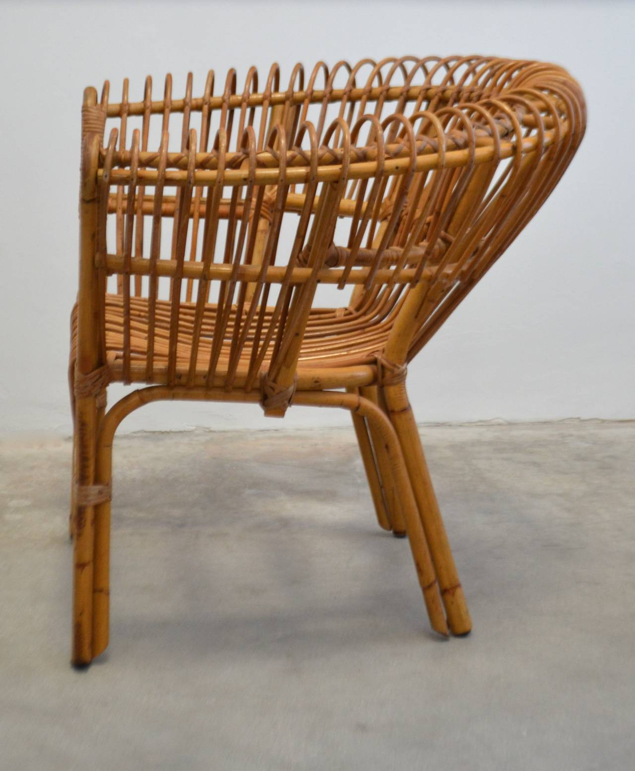 Italian Rattan Lounge Chair 4
