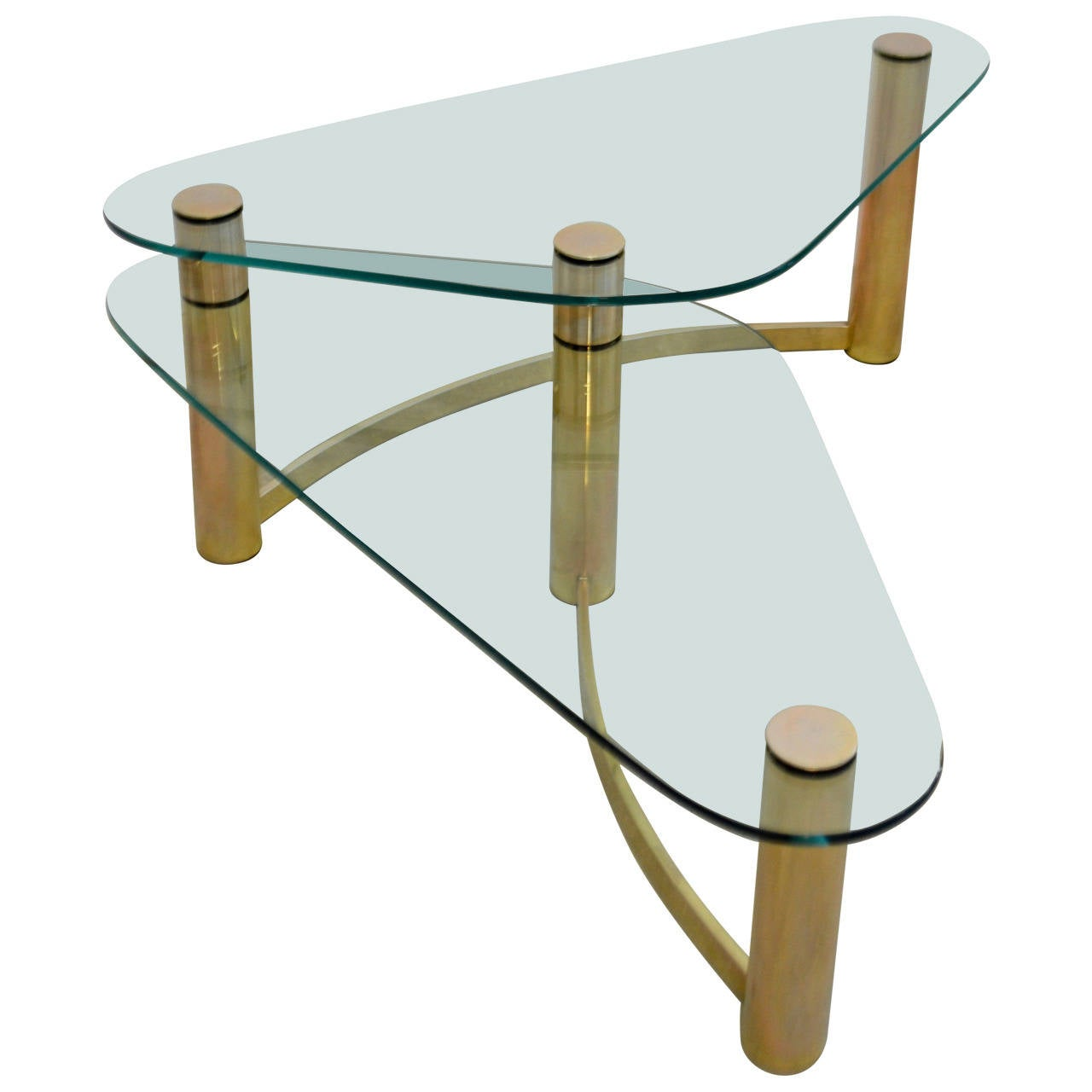 Glass And Brass Coffee Table At 1stdibs