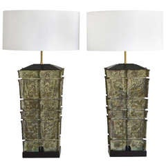 Pair of Monumental Bronze Table Lamps