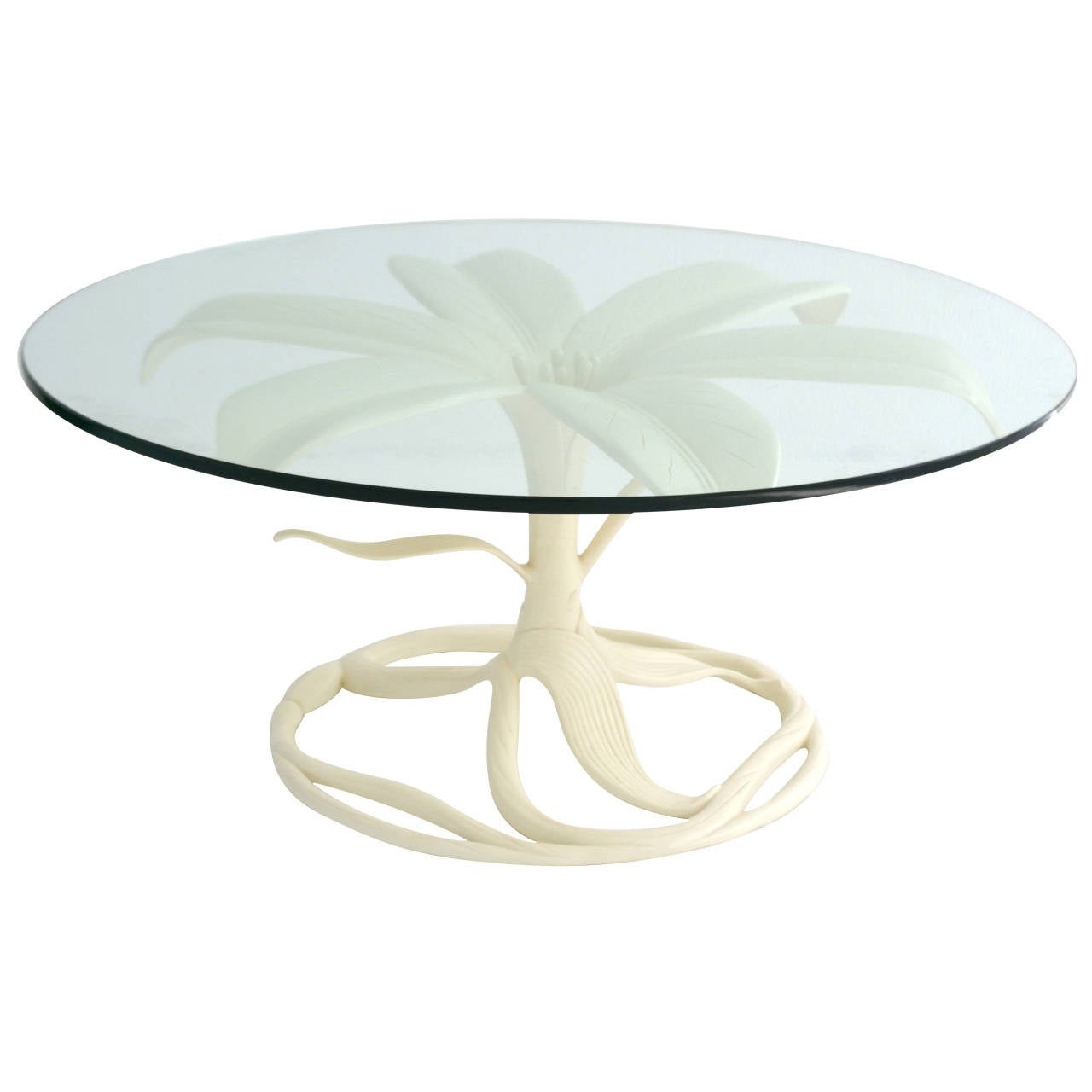 Mid century white lacquered glass top cocktail table by for White and glass coffee table