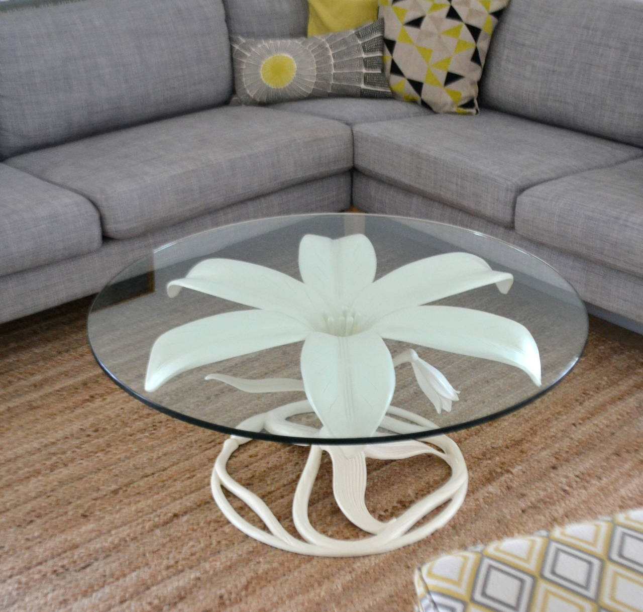 "Stunning Mid-Century white lacquered coffee table by Arthur Court, circa 1970s. This striking cocktail table designed in the style of a lily is accented with a 40"" diameter, 5/8"" thick glass tabletop."