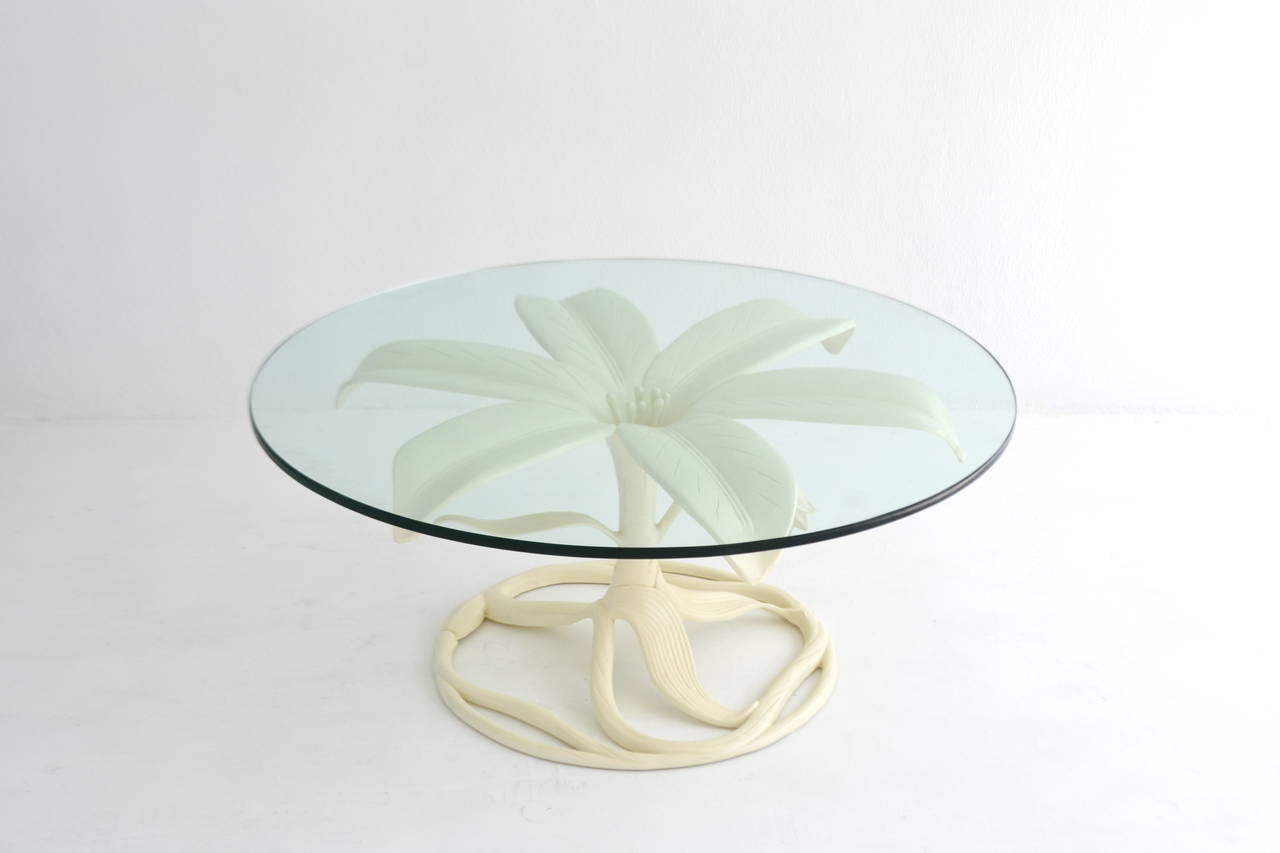 Mid-Century Modern Mid-Century White Lacquered, Glass-Top Cocktail Table by Arthur Court For Sale
