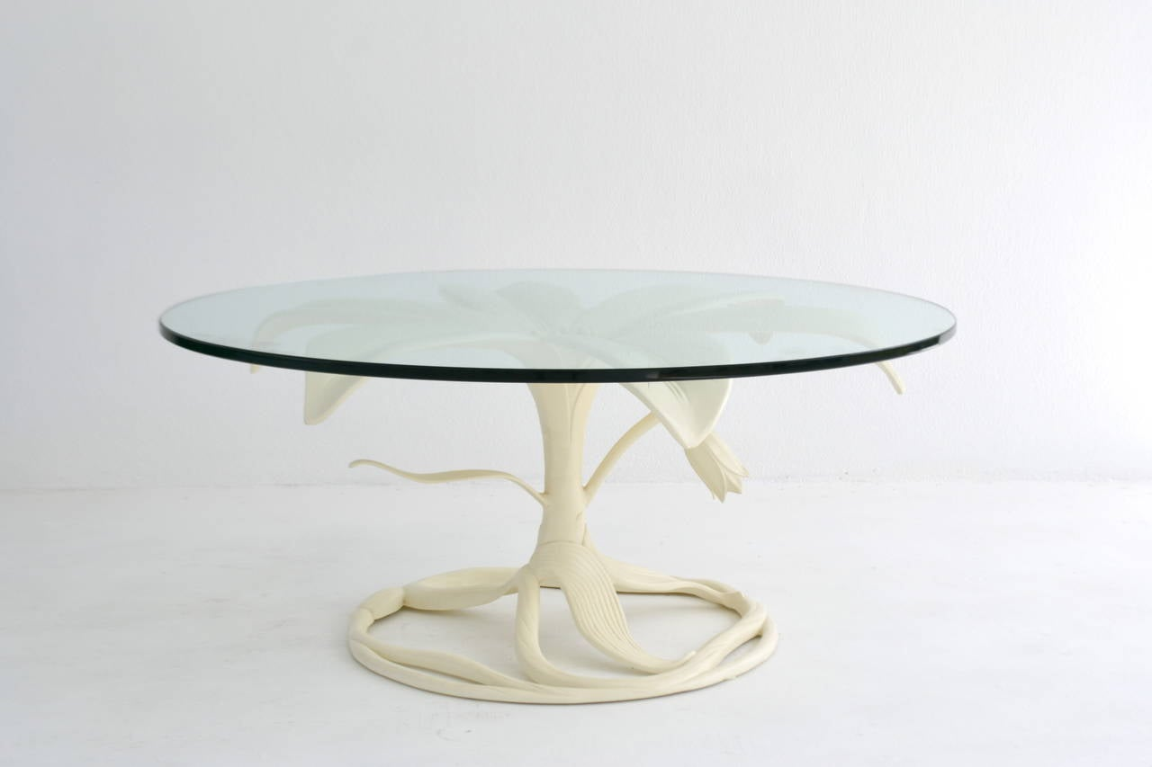 American Mid-Century White Lacquered, Glass-Top Cocktail Table by Arthur Court For Sale