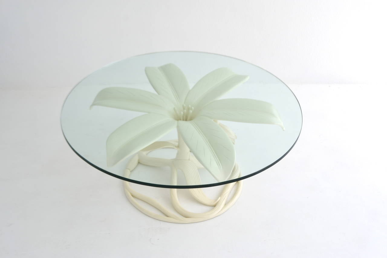 Mid-Century White Lacquered, Glass-Top Cocktail Table by Arthur Court In Excellent Condition For Sale In West Palm Beach, FL