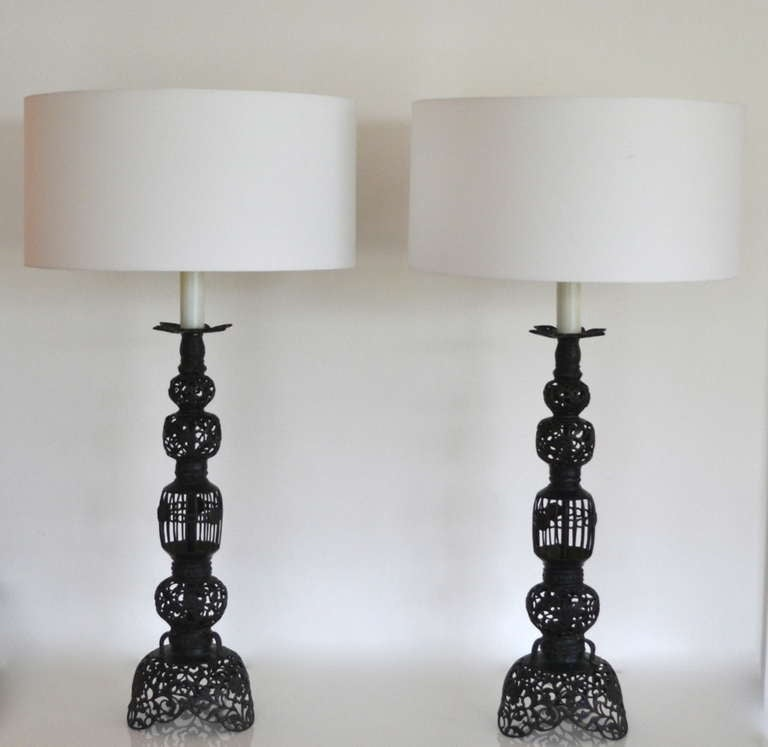 pair of wrought iron fretwork table lamps at 1stdibs. Black Bedroom Furniture Sets. Home Design Ideas