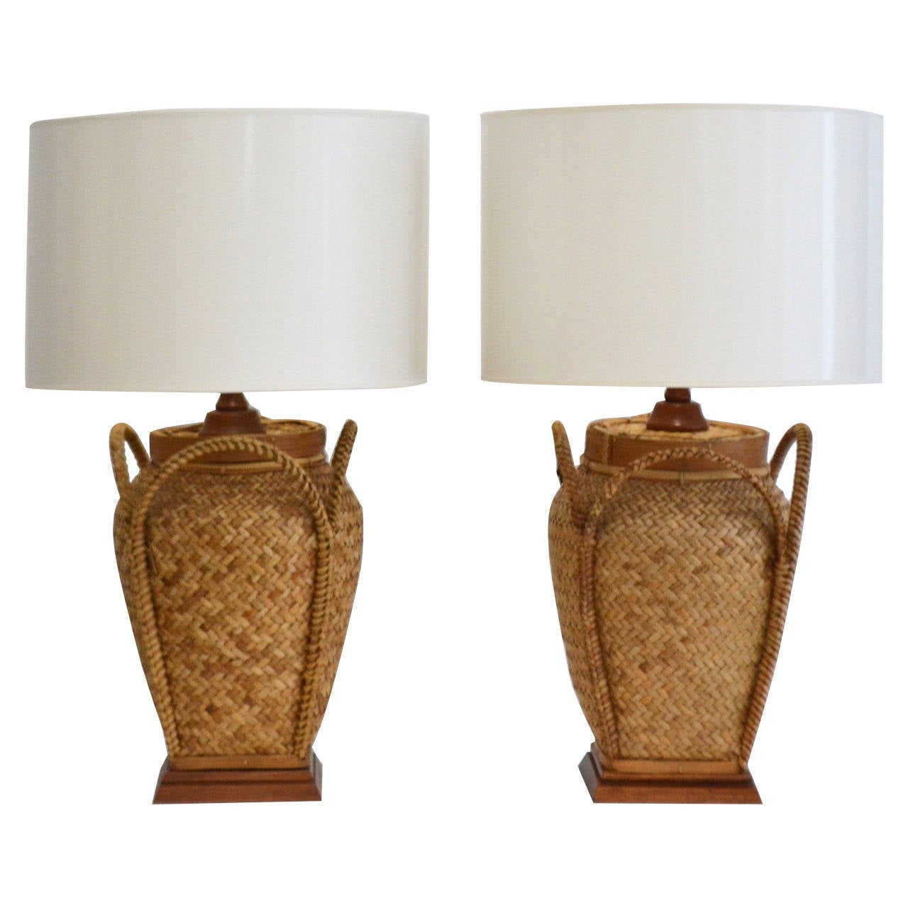Woven Basket Lamp : Pair of woven rattan basket table lamps at stdibs