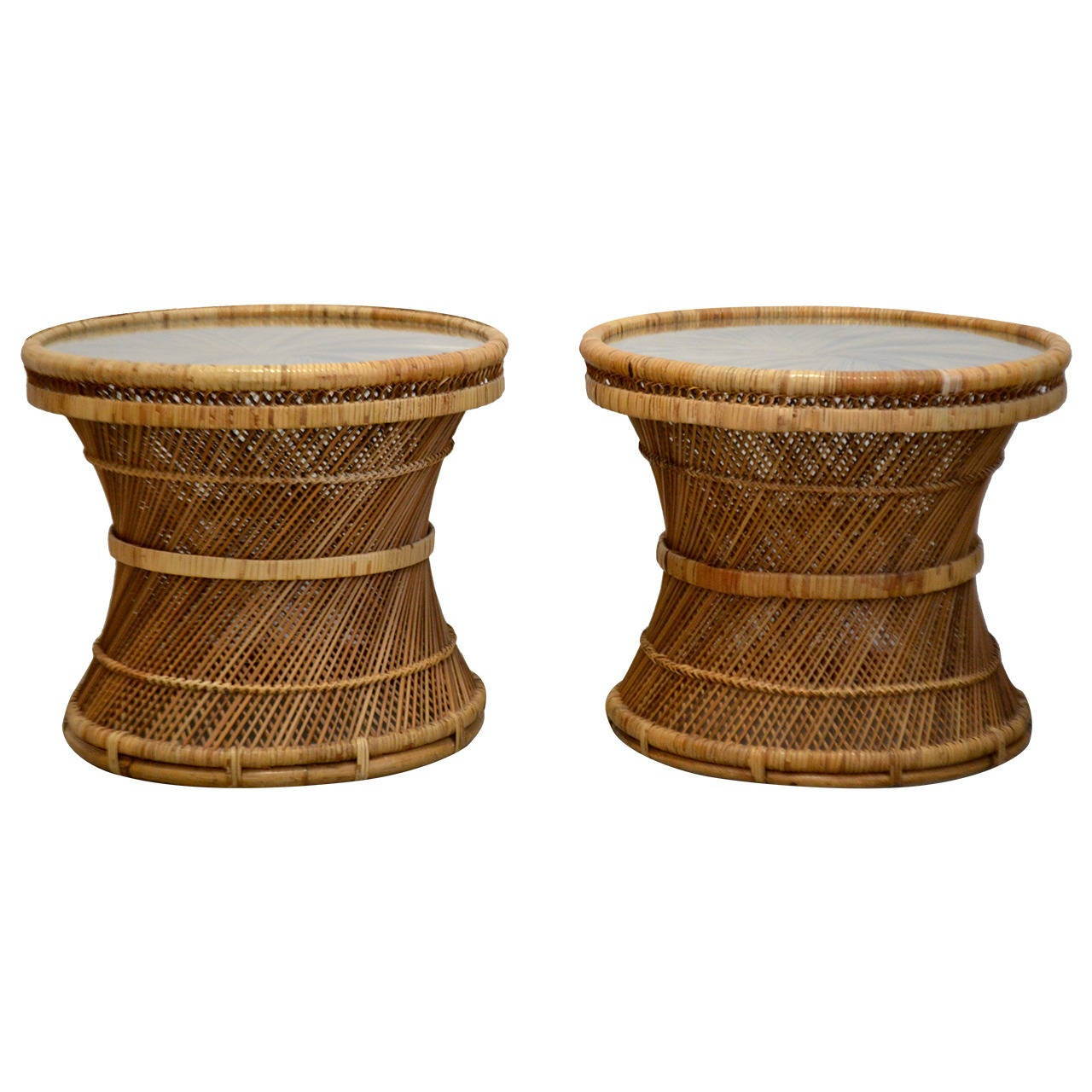 Pair Of Woven Rattan Side Tables At 1stdibs