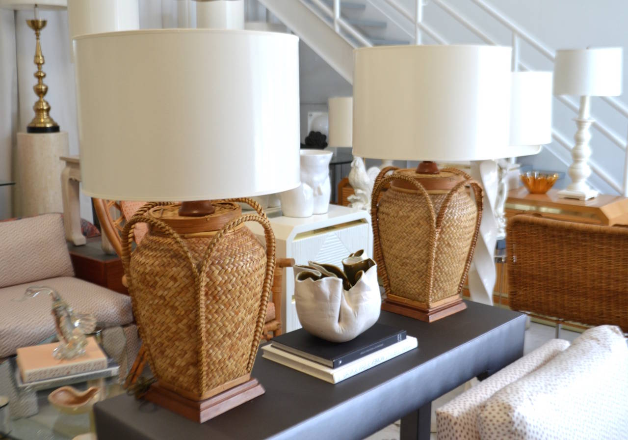Pair of woven rattan basket table lamps at 1stdibs striking pair of natural woven rattan and bamboo basket table lamps c 1950s aloadofball Choice Image