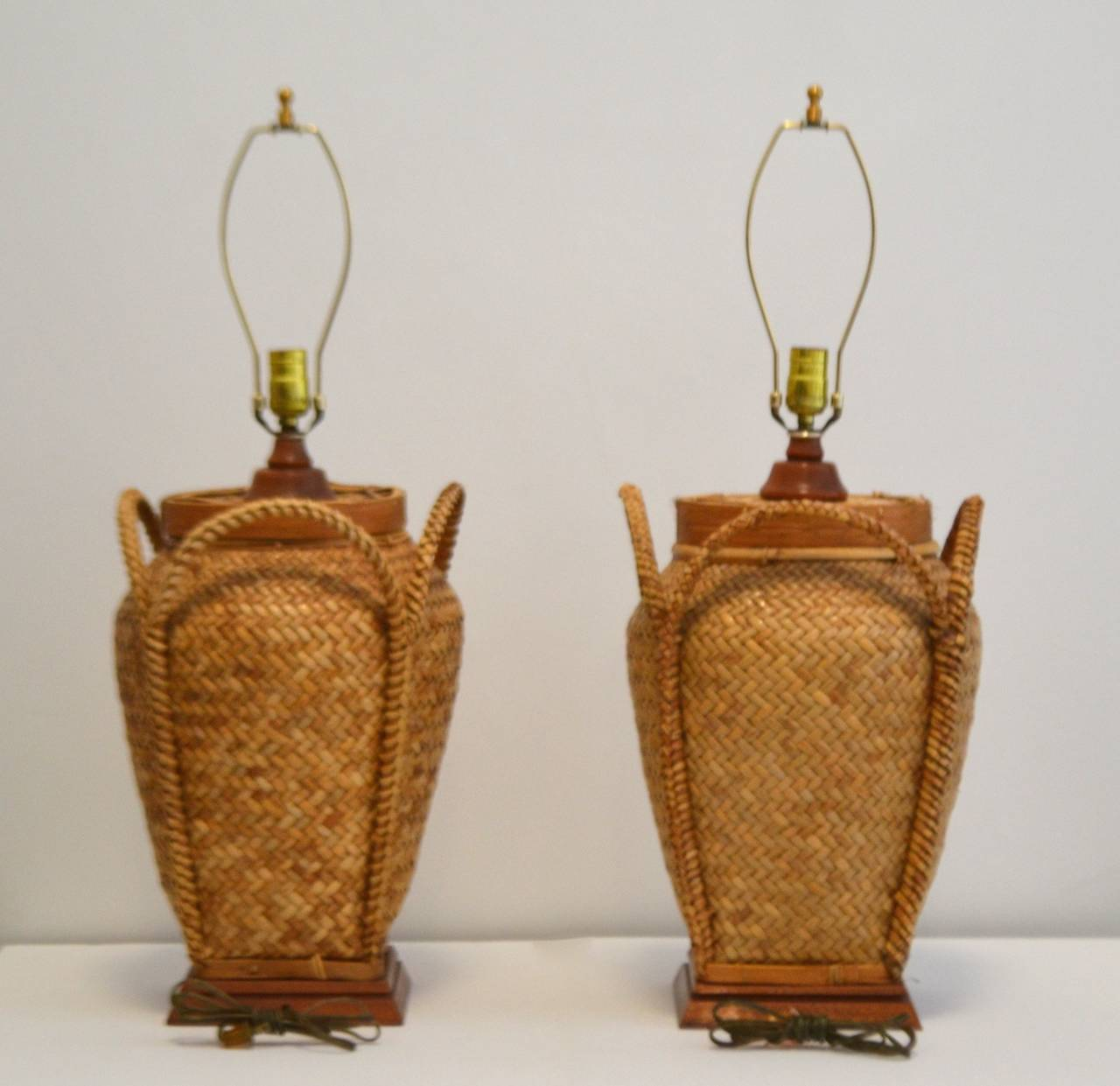 Pair of Woven Rattan Basket Table Lamps at 1stdibs