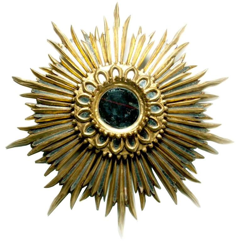 Fabulous 1940s - 1950s Italian Giltwood Sunburst Mirror at 1stdibs