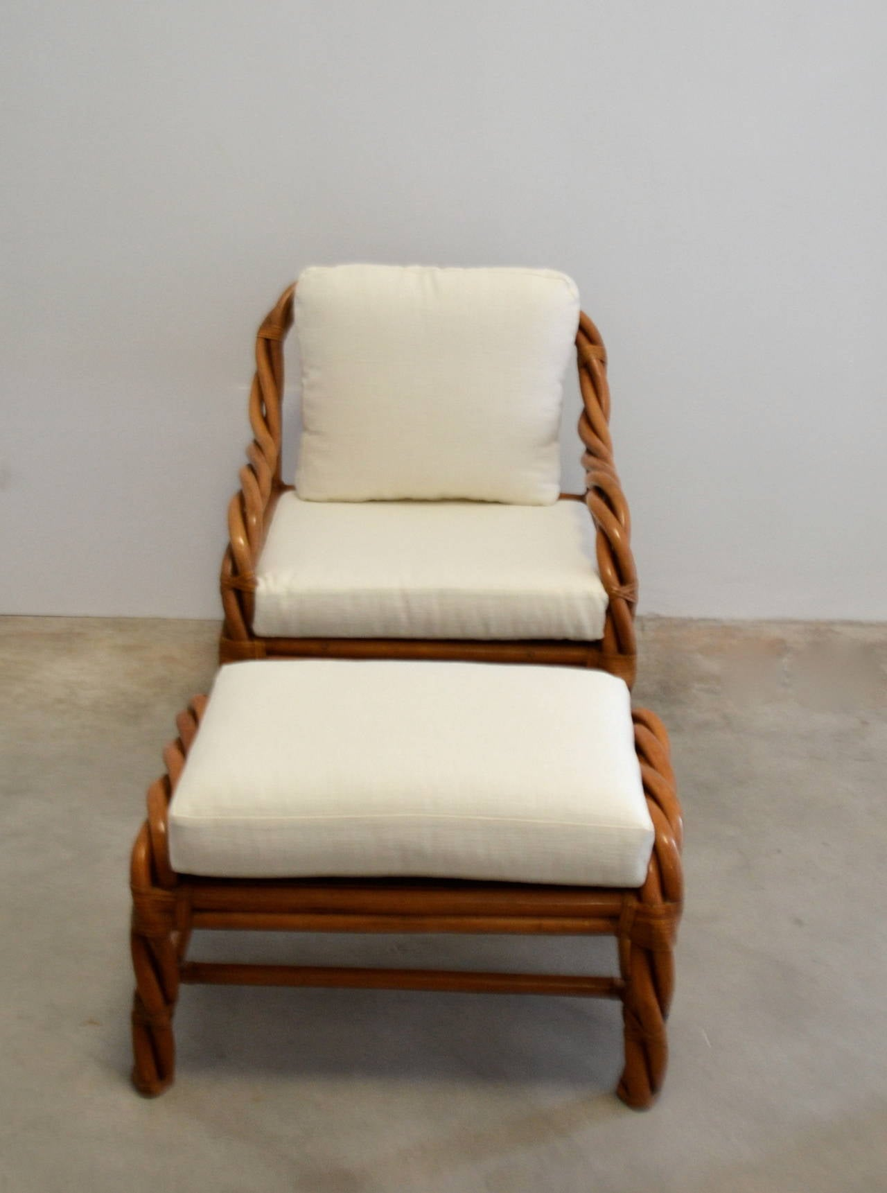 Rattan Club Chair And Ottoman At 1stdibs