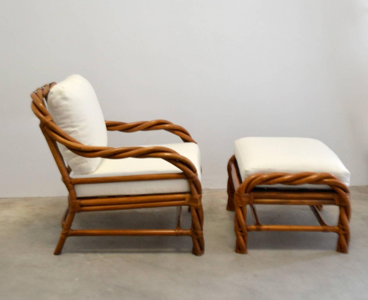 Rattan Club Chair And Ottoman At 1stdibs