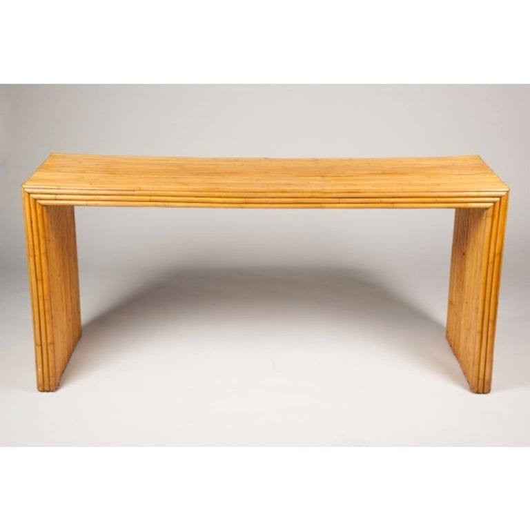Mid century bamboo parsons style console table at 1stdibs - Fly table console ...