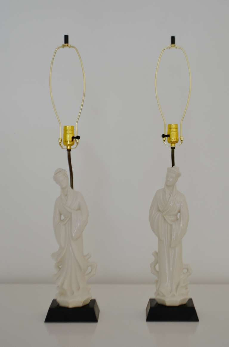 Pair Of Blanc De Chine Table Lamps At 1stdibs