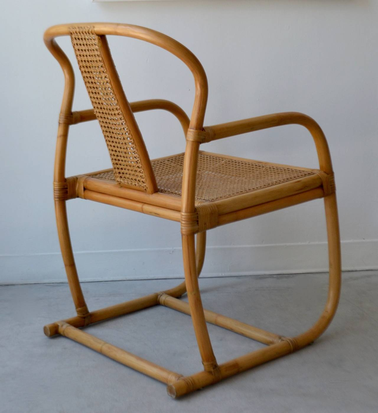 Mid Century Bent Bamboo Occasional Chair At 1stdibs