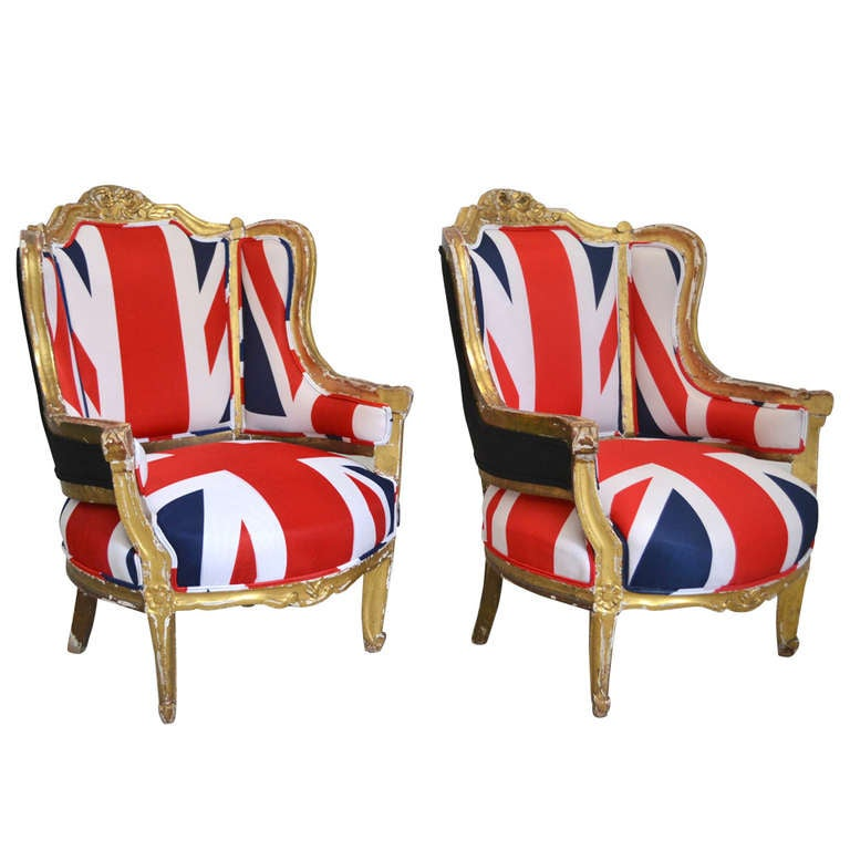 Pair of French Louis XV Style Bergeres For Sale