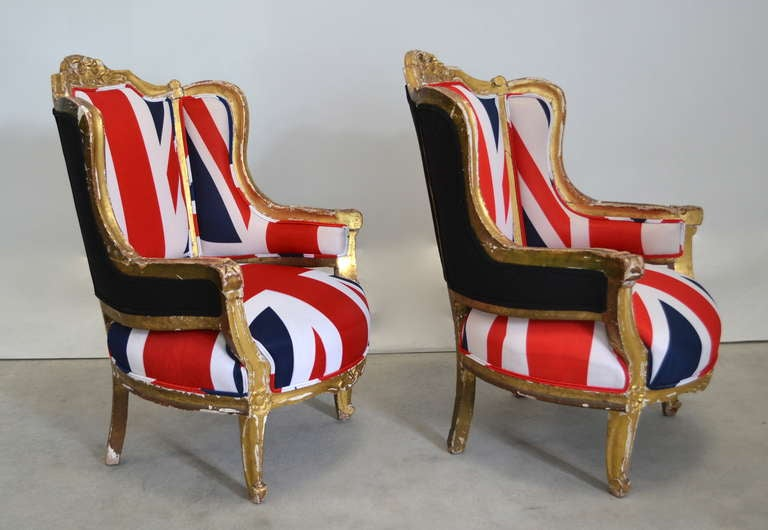 Gold Leaf Pair of French Louis XV Style Bergeres For Sale