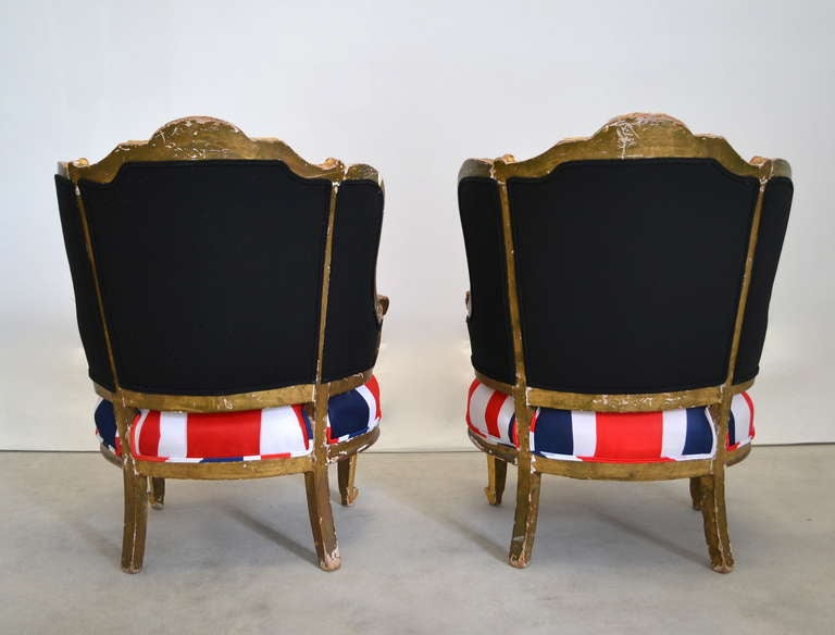 Pair of French Louis XV Style Bergeres For Sale 1