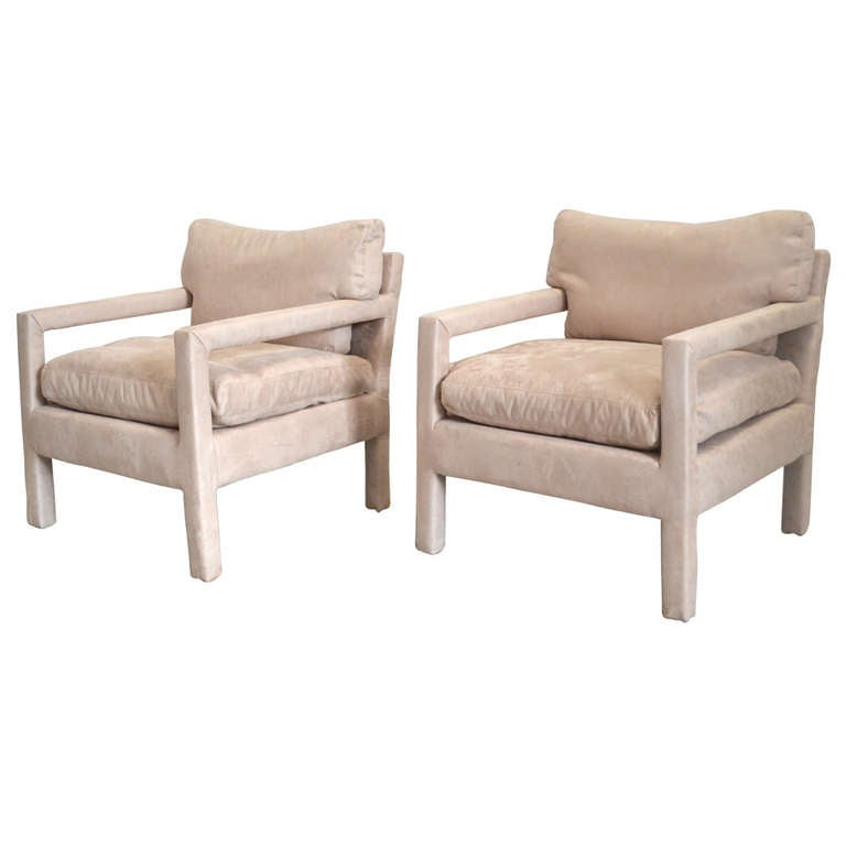 Pair Of Parsons Style Club Chairs At 1stdibs