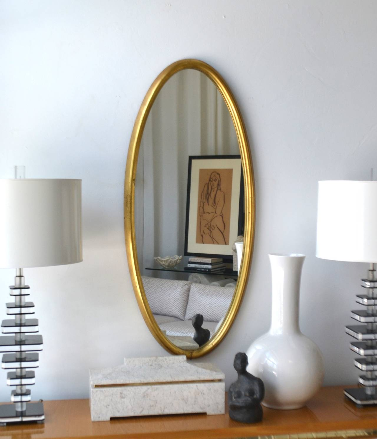Midcentury Giltwood Wall Mirror For Sale 2