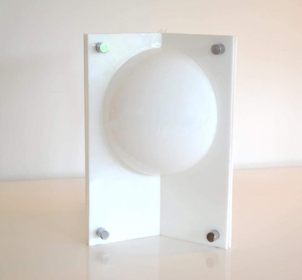 Rare Neal Small White Molded Acrylic Three Sided Table