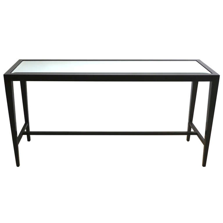 Black lacquered console sofa table at 1stdibs for Modern white lacquer console table