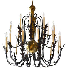 Hollywood Regency Wrought Iron and Brass Chandelier