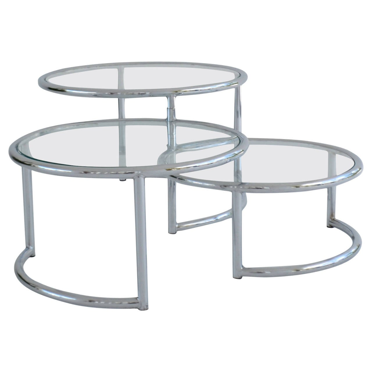 Three Tier Swivel Cocktail Or Side Table At 1stdibs